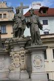 Charles Bridge-_Statue Stockbilder