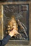 Charles Bridge statue Nepomuk Stock Image