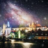 Charles Bridge with statues and Prague Castle at night. , Czech Republic Royalty Free Stock Photography