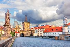 Charles Bridge with Statues of Saint Augustine of Hippo and St P stock photos