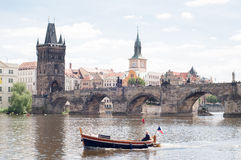 Charles bridge in a sunny day Stock Photo