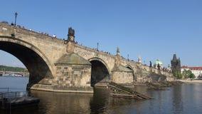 Charles bridge on a Sunny day. Prague, Czech Republic. Charles bridge on a Sunny day. Prague. Czech Republic stock video