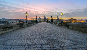 Charles Bridge at Sunrise Stock Photography