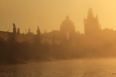 Charles bridge at sunrise Stock Images