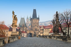 Charles Bridge sunrise view, Prague Stock Photography