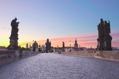 Charles bridge at sunset, Prague Royalty Free Stock Images
