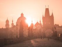 Charles Bridge at sunset time, Old Town of Prague, Czech Republic Stock Images