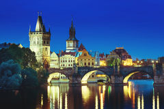 Charles bridge in sunset time, Prague Royalty Free Stock Photography