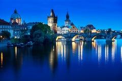 Charles bridge in sunset time, Prague Royalty Free Stock Photos