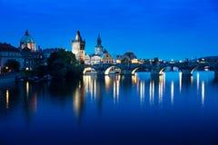 Charles bridge in sunset time, Prague Stock Images