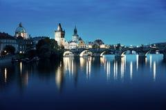 Charles bridge in sunset time, Prague Royalty Free Stock Photography