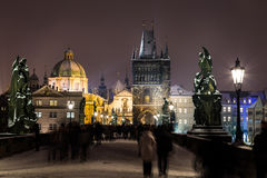 Charles Bridge towards Old Town in the Winter Stock Image