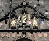 Charles Bridge Tower. Close up of sculptures on Charles Bridge tower, Prague, Czech Republic Royalty Free Stock Image