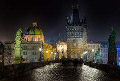 Charles bridge and Tower at night, Prague, Czech Republic Royalty Free Stock Image