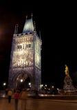 Charles bridge tower at night, Prague stock photo