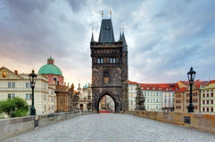Charles bridge with tower, Prague royalty free stock photography