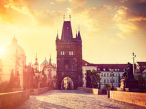 Charles bridge tower in Prague on sunrise Royalty Free Stock Photography