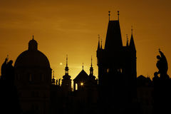 The Charles Bridge Tower, silhouette, Sepia Stock Photography