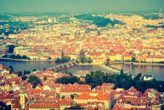 Charles Bridge, view from Petrin Tower stock photos