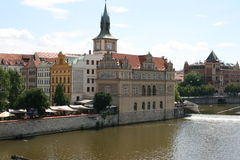 Charles Bridge_view of Smetana museum Stock Photo