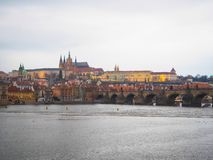 The Charles Bridge view in the winter. The Charles Bridge view in the winter at Prague, Czech Republic Stock Image