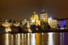 Charles bridge and Vltava Moldau stock images