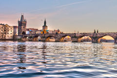 Charles Bridge and the Vltava river royalty free stock image