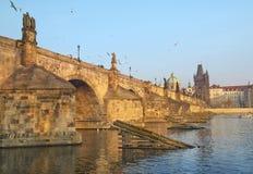 Charles Bridge and Vltava river in Prague Royalty Free Stock Images