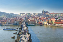 Charles bridge,Vltava river,Prague castle,Prague Stock Image