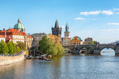 Charles bridge on Vltava river, Prague Stock Image