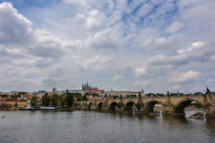 Charles Bridge on the Vltava river in Prague, Czech Republic Royalty Free Stock Photography
