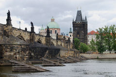 Charles Bridge and Vltava River, Prague, Czech Republic Stock Images