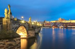 Charles Bridge and Vltava River in Prague, Czech Republic at night Stock Photos