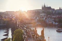 Charles Bridge on Vltava river in Prague, Czech Republic at sunset. Prague Castle Stock Photography