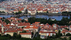 Charles bridge on Vltava river, Praha, Prague, Czech republic. Bird`s eye view at Charles bridge on Vltava river and part of the old city center of Prague, Praha royalty free stock image