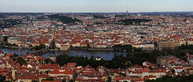 Charles bridge on Vltava river, Praha, Prague, Czech republic. Panoramic bird`s eye view at Charles bridge on Vltava river and part of the old city center of royalty free stock photo