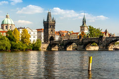 Charles Bridge and the Vltava River. Stock Images