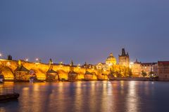 Charles bridge water reflection and old town at night, Prague, Czech republic Royalty Free Stock Photography