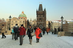 Charles Bridge in winter Stock Images