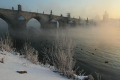 Charles bridge in winter Stock Image