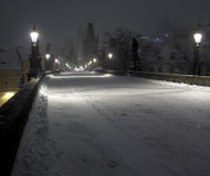 Charles bridge in winter, Prague Stock Photo