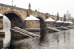 Charles bridge in the winter. Prague and this bridge  is in Unesco world heritage list Royalty Free Stock Photography