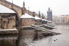 Charles bridge in the winter. Prague and this bridge  is in Unesco world heritage list Stock Image