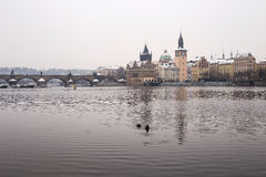 Charles bridge in the winter. Prague and this bridge  is in Unesco world heritage list Stock Photography