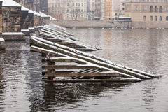 Charles bridge in the winter Royalty Free Stock Photography
