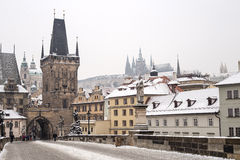 Charles bridge in the winter Stock Image