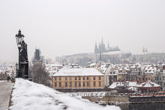 Charles bridge in the winter. Prague and this bridge  is in Unesco world heritage list Royalty Free Stock Photos