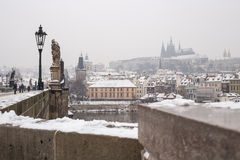 Charles bridge in the winter. Prague and this bridge  is in Unesco world heritage list Royalty Free Stock Image
