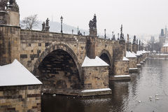 Charles bridge in the winter. Prague and this bridge  is in Unesco world heritage list Stock Images