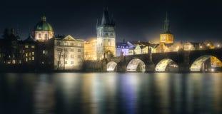 Charles bridgeat night, Prague, Czech Republic. Night view of Charles bridge and Prague cityscape, Czech Republic Stock Photography